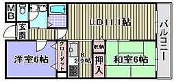 ハイデ上町[602号室]の間取り