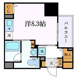 名古屋市営東山線 新栄町駅 徒歩8分の賃貸マンション 8階ワンルームの間取り