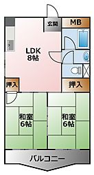 兵庫県西宮市甲子園七番町の賃貸マンションの間取り