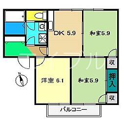 リバーハイツB棟[1階]の間取り