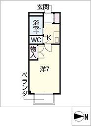 STUDIO岩田寮 H棟 1階1Kの間取り