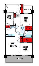 パークサンリヤン博多の森I・II[6階]の間取り