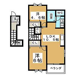 キャピタル広瀬III[2階]の間取り