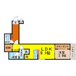 愛知県名古屋市中村区中村本町2の賃貸アパートの間取り