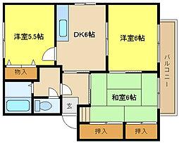 兵庫県姫路市飾磨区阿成鹿古の賃貸アパートの間取り