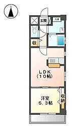 愛知県名古屋市西区名西2の賃貸マンションの間取り
