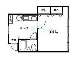 京都府京都市東山区下馬町の賃貸アパートの間取り