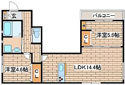 阪急神戸本線 六甲駅 徒歩7分の賃貸アパート 2階2LDKの間取り