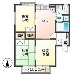 長野県須坂市大字日滝の賃貸アパートの間取り