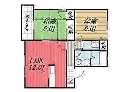 千葉県四街道市美しが丘3丁目の賃貸アパートの間取り