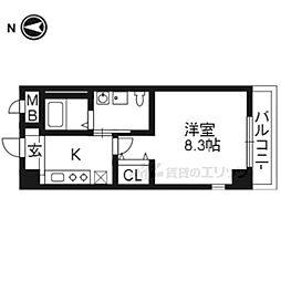 かぐや姫タワービル 8階1Kの間取り