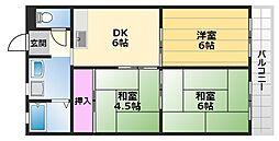 サワーハイツ萩原天神 3階3DKの間取り