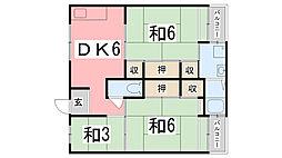 ビレッジハウス宮の前3号棟[201号室]の間取り
