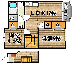 兵庫県川西市笹部2丁目の賃貸アパートの間取り