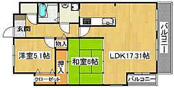 アズステーション星田[5階]の間取り