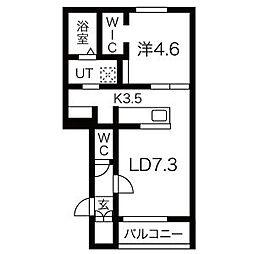 JR学園都市線 あいの里教育大駅 徒歩1分の賃貸アパート 2階1LDKの間取り