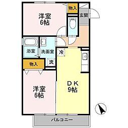 オーシャンヴュー B棟[2階]の間取り