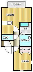 ドエル松ヶ丘[203号室]の間取り
