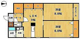 兵庫県西宮市用海町の賃貸マンションの間取り
