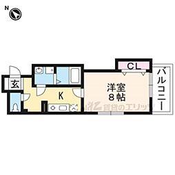 JR山陰本線 太秦駅 徒歩4分の賃貸マンション 3階1Kの間取り