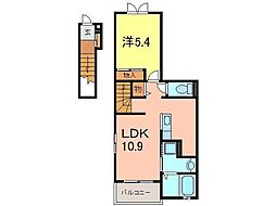 カモミールハウスB[203号室]の間取り