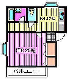埼玉県さいたま市南区四谷3丁目の賃貸アパートの間取り