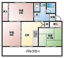 ビレッジハウス直方2号棟[4階]の間取り