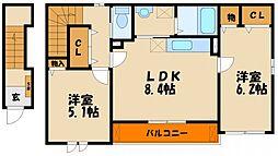 兵庫県明石市林2丁目の賃貸アパートの間取り