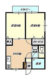 福岡県北九州市小倉北区大畠3丁目の賃貸アパートの間取り