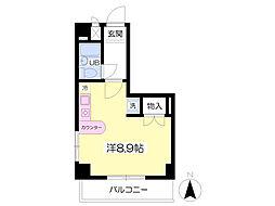 JR東北本線 福島駅 徒歩5分の賃貸マンション 4階ワンルームの間取り