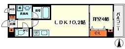 ラ フォート城北公園 2階1LDKの間取り