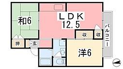 メゾン堀川 A棟[203号室]の間取り