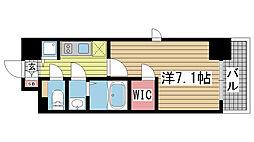 エスリード神戸三宮ラグジェ 13階1Kの間取り