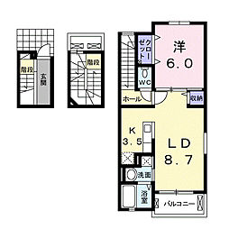神奈川県厚木市戸田の賃貸アパートの間取り
