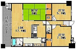 サーパス桜坂[6階]の間取り