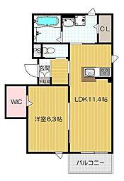 京阪本線 西三荘駅 徒歩3分の賃貸アパート 2階1LDKの間取り