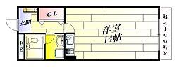 エイト摂津[2階]の間取り