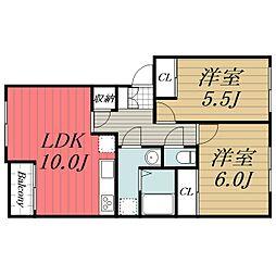 JR成田線 成田駅 バス20分 富里郵便局下車 徒歩4分の賃貸アパート 2階2LDKの間取り