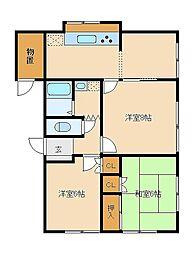 ゲイブルハウスアオヤマ[102号室]の間取り