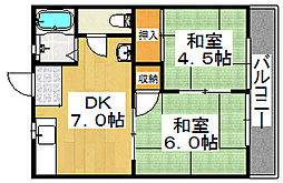 石田ハイツ[2階]の間取り