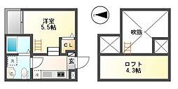 愛知県名古屋市中村区畑江通2丁目の賃貸アパートの間取り