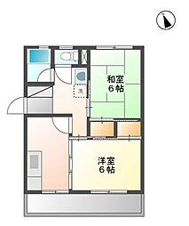 秋山ハイツ B棟[4階]の間取り