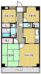 サンレイ土浦[1階]の間取り