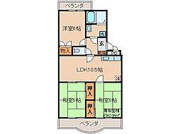 京都府京都市伏見区西浜町の賃貸マンションの間取り