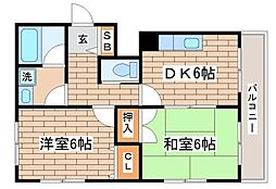 ベクエイム東須磨[4階]の間取り
