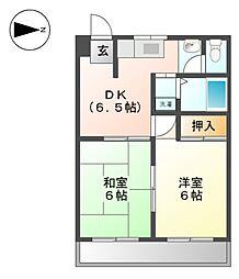 愛知県名古屋市北区楠1丁目の賃貸マンションの間取り