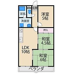 京阪本線 香里園駅 徒歩10分の賃貸マンション 3階3LDKの間取り