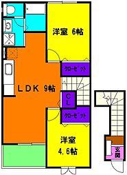 静岡県磐田市豊岡の賃貸アパートの間取り