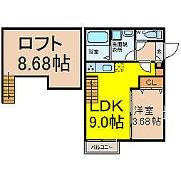 名鉄名古屋本線 東枇杷島駅 徒歩8分の賃貸アパート 1階1LDKの間取り