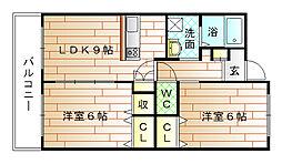 福岡県宗像市宮田2丁目の賃貸マンションの間取り